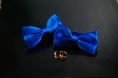 Two blue bow tie and golden wedding rings on black background. Concept of clothes. Two blue bow tie and golden wedding rings on black background Stock Photography