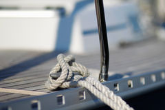Two blue bumpers. On a sailing boat in a marina Stock Images