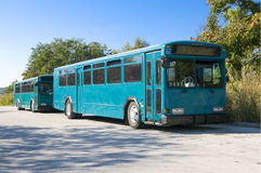 Two Blue Buses Royalty Free Stock Photography