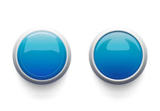 Two blue buttons. Pressed and not. Isolated on white Royalty Free Stock Images