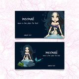 Two blue cards with mermaids and the text Royalty Free Stock Image