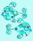 Two blue cartoon fish. Two fun blue character fish swimming in opposite directions on a soft turquoise blue background Stock Photos