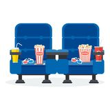 Two blue chairs. Auditorium and two blue chairs comfortable armchairs in the cinema. Drinks and popcorn, glasses for movie Flat vector cartoon Cinema seats Stock Photos