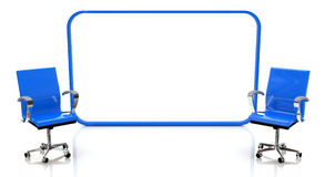 Two blue chairs and screen Royalty Free Stock Image