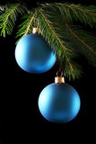 Two blue christmas balls Royalty Free Stock Photos