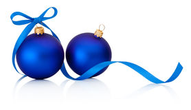Two Blue Christmas baubles with ribbon bow isolated on white Stock Photos