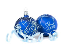 Two blue Christmas Baubles on white Stock Photos