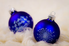 Two blue christmas glass bulb Stock Photography