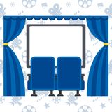 Two blue cinema chairs and screen. Auditorium and two blue comfortable armchairs in the cinema. Drinks and popcorn, glasses for movie Flat vector cartoon Cinema Stock Photos