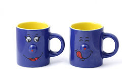 Two blue cups Stock Images