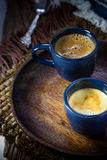 Two blue cups of espresso Stock Image