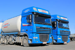 Two Blue DAF XF 105 Trucks Stock Photography