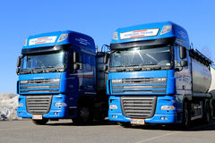 Two Blue DAF XF 105 Trucks Royalty Free Stock Photography