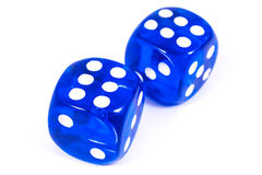 Two Blue Dice Royalty Free Stock Photo