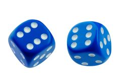 Two blue dice rolling isolated. On white Royalty Free Stock Images