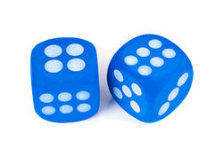 Two blue dice on white background. Two big blue fuzzy dice on white background stock photos