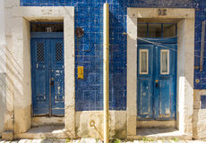 Two blue doors in Lisbon Royalty Free Stock Photos