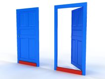Two blue doors open and closed the door №2 Royalty Free Stock Photos