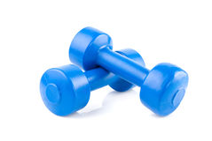 Two blue dumbbells Stock Photo