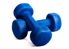 Two blue dumbbells Royalty Free Stock Image