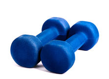 Two blue dumbbells Royalty Free Stock Photos