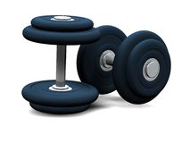 Two blue dumbbells on white background Royalty Free Stock Photo