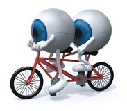 Two blue eyeballs riding tandem Royalty Free Stock Photos