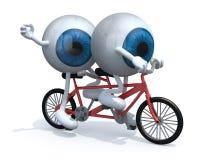 Two blue eyeballs riding tandem Stock Photo