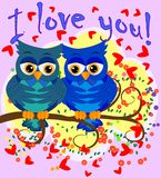 Two blue-eyed, owl-owl-boys sit on the rainbow among the hearts, love is in the air. Concept of homosexual male love, postcard. Two blue-eyed, owl-owl-boys sit royalty free illustration