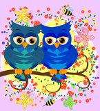 Two blue-eyed, owl-owl-boys sit on the rainbow among the hearts, love is in the air. Concept of homosexual male love, postcard. Two blue-eyed, owl-owl-boys sit vector illustration