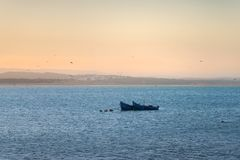 Two blue fishing boats in front of Essaouira city Royalty Free Stock Photos