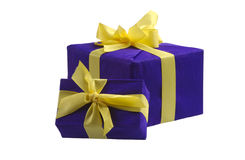 Two blue gift boxes Stock Image