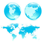 Two blue globes ang map. All elements are separate objects and grouped. File is made with gradient. No transparency. Map source Url: https://www.cia.gov/library/ Stock Illustration