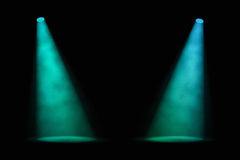 Two Blue-green Spotlights Royalty Free Stock Photo