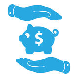 Two blue  hands protecting piggy bank icon on a white background Stock Photos