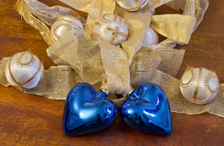 Two blue hearts for christmas Royalty Free Stock Images