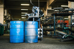 Two blue industrial barrels Stock Images