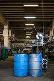 Two blue industrial barrels Stock Photography