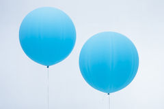 Two blue inflated balloons Stock Photos