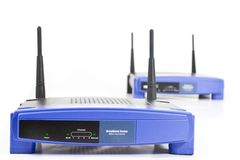Two blue internet router with two antennas Stock Images