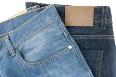 Two blue jeans Royalty Free Stock Images
