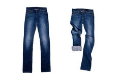 Two blue jeans. Isolated on the white background Royalty Free Stock Photography