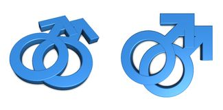 Two Blue Male Symbols on White. Two male/ symbol isolated with slight shadow on white from angle and front Royalty Free Stock Images
