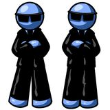 Two blue men. In Suits with folded arms and black sunglasses Royalty Free Stock Photo