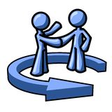Two blue men shaking hands. A graphic illustration of two blue cartoon men shaking hands while a circling arrow is around them. Isolated on white background Stock Photography