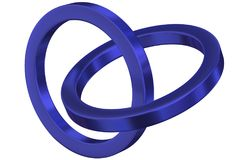 Linked metal rings. Two blue metal rings linked together. Isolated on white background vector illustration