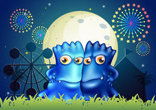Two blue monsters holding each other at the park. Illustration of the two blue monsters holding each other at the park stock illustration