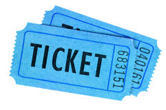 Two blue movie or raffle tickets Stock Photos