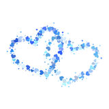 Two blue outline hearts isolated on white Royalty Free Stock Photos
