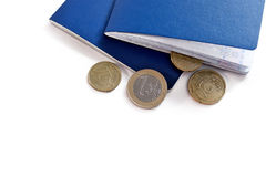 Two blue passports and euro money coins Royalty Free Stock Photography